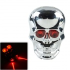 SH086-1 6-mode 2-LED Red light Skull-Shape Bicycle Tail Light w/ Laser Warning - Silver + Red