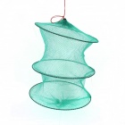 Folding Nylon 3 Section Fish Shrimp Crab Storage Creel - Green