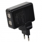 4-Port USB AC Charging Adapter Charger for Ipad / Iphone / Samsung / Cell Phone - Black (EU Plug)