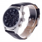 Daybird 3781 Artificial 3 Eyes + Roman Numeral Quartz Analog Wrist Watch for Men - Black + Silver