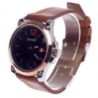 Daybird 3788 PU Leather + Simple Calendar Analog Quartz Men's Wrist Watch - Brown + Champagne Gold