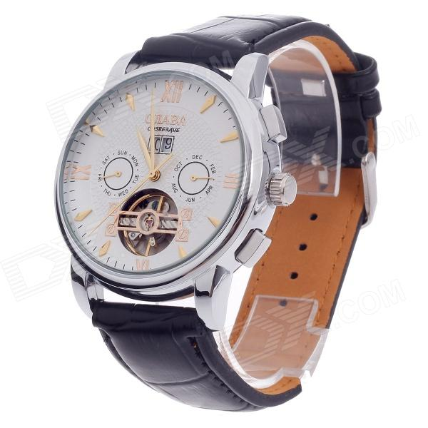 CJIABA DF301 Double-Sided Hollow out Automatic Analog Men's Wrist Watch w/ Calendar - Black + White