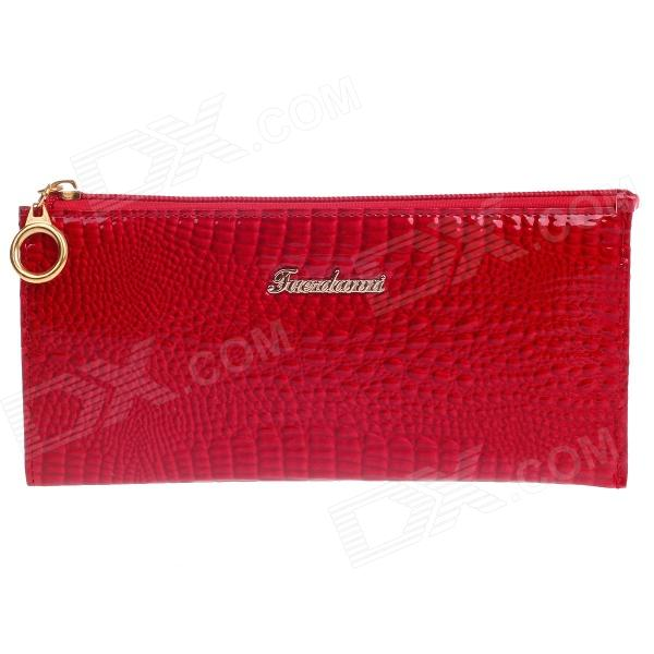 4461 High Grade Crocodile Style Zipper Long Wallet for Women - Red + Golden