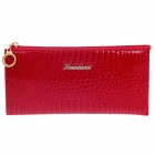 4461 High Grade Crocodile Stil Zipper Long Wallet für Frauen - Red + Golden