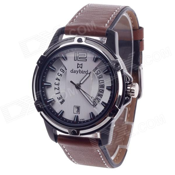 Daybird 3785 Unisex Quartz Wrist Watch w/ Hollow Calendar - Brown + Black + White (1 x LR626) high quality 20mm 22mm 24mm leather watch strap man watch straps black brown gray stainless steel buckle thick line watch band