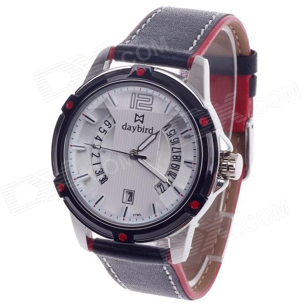 Daybird 3785 Unisex Quartz Wrist Watch w/ Hollow Calendar - Black + Red + White + Silver (1 x LR626) daybird 3755 w man s stainless steel analog quartz waterproof wrist watch white black silver