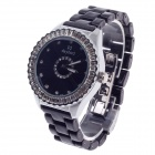 Daybird 3791 Ceramic Band Quartz Women's Wrist Watch w /Rhinestone - Black + Silver (1 x LR626)