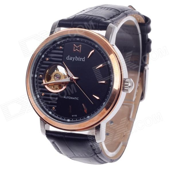 Daybird 3772 Double-Sided Skeleton Automatic Unisex Analog Wrist Watch - Black + Golden + Silver solid scrub stainless steel brushed black gold silver rose gold finished watch band clasp buckle watchbands 16 18 20mm 24mm 26mm