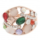 Colorful Opal + Rhinestone Style Rings for Women - Golden + Green + Red (UK Size 19)