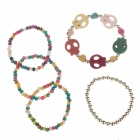 Fashionable Skull Beaded Ladies Wrist Bracelet for Women - Multicolored (5 PCS)