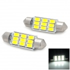Festoon 39mm 4.5W 180lm 9-SMD 5730 LED Valkoinen Valotuslasi-Silver + Yellow (2 PCS / 12V)