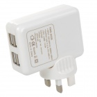 4-Port USB AC Charging Adapter Charger for IPAD / IPHONE / Samsung - White (UK Plug/100~240V)