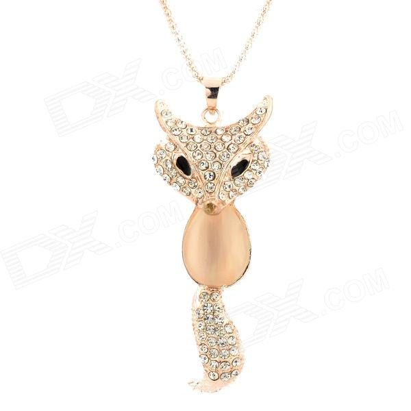 Decorative Zinc Alloy Opal Fox Necklace - Golden цена
