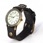 ZY-00013 Retro Style PU leather Band Quartz Analog Wrist Watch - Black (1 x 626)