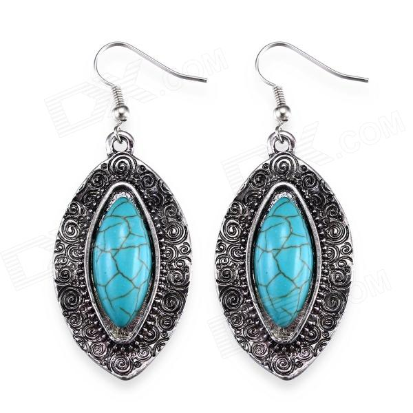 eQute EPEW17C1 Luxurious Oval Turquoise Dangling Earrings - Silver + Blue (Pair) equte epew22h1 fashionable vintage turquoise dangle earrings green silver pair