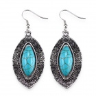 eQute EPEW17C1 Luxurious Oval Turquoise Dangling Earrings - Silver + Blue (Pair)