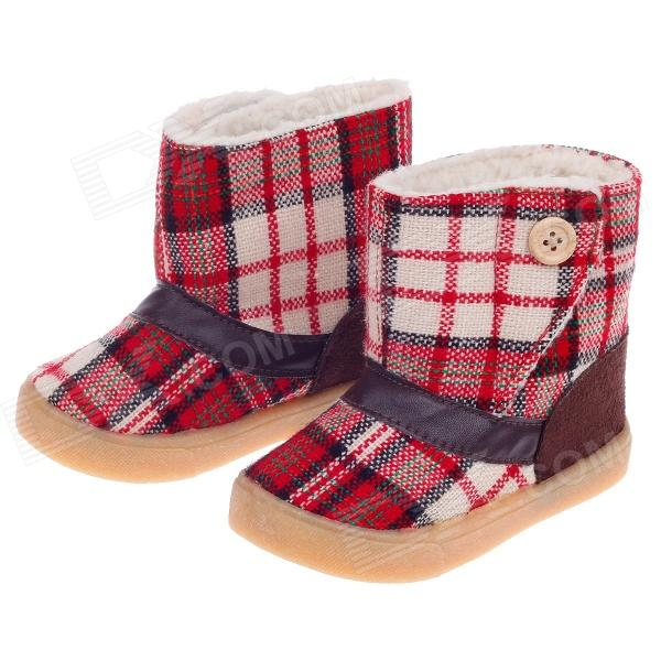 Plaid Pattern Magic Stick Style Cotton Baby Snow Boots - Red (Size 16 / Pair)