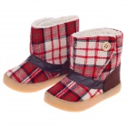 Plaid Pattern Magic Stick Style Cotton Baby Snow Boots - Red (Size 14 / Pair)