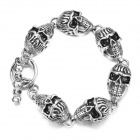 eQute BSSM3C1 Fashionable Skull Style 316L Titanium Steel Men's Bracelet - Antique Silver + Black