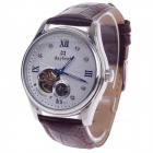 Daybird 3771 Double-Sided Skeleton Automatic Men's Analog Wrist Watch w/ Rhinestone - Brown + Silver