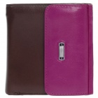 4459 Fashionable Head layer Cowhide Folding Unisex Wallet - Purple + Deep Brown