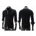 Slim Fit Men's Leisure Wash and Wear Long Sleeve Shirt - Black (Size-L)