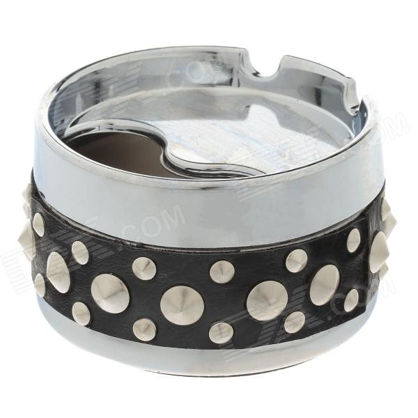 Cool Rivet Rotary Style Top Ashtray - Silver + Black ashtray