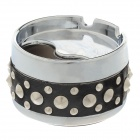 Cool Rivet Rotary Style Top Ashtray - Silver + Black