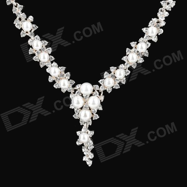 Shinny Pearl Crystal Necklace for Women - Golden + White kcchstar fashion bow style w pearl crystal pedant necklace for women golden white