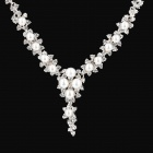 Shinny Pearl Crystal Necklace for Women - Golden + White