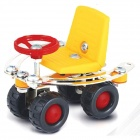 Iron Commander SM146744 DIY Metal Assembled Small Four-Wheeler - Silver + Yellow + Red