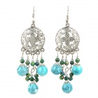 Retro Style Hollow Carved Flower Bead Earring - Blue + Silver