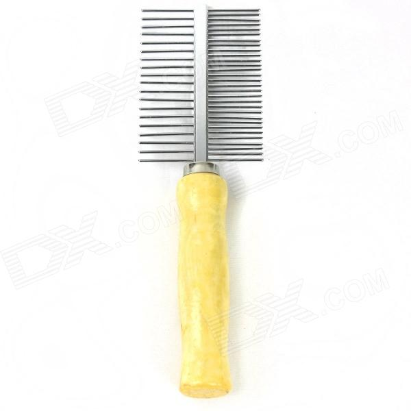 Pet Dog Cat Double Sided Hair Comb - Yellow + Silver