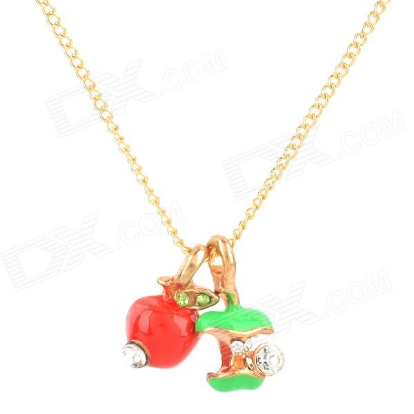 Fashion Fruit Apple Style Crystal Necklace - Red + Green + Golden