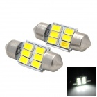 Festoon 31mm 3W 120lm 9-SMD 5730 LED White Light Car Reading Lamp - Silver + Yellow (2 PCS / 12V)