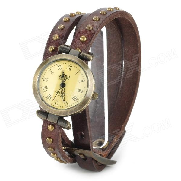 Woman's Fashionable Triple Band Analog Quartz Wrist Watch - Brown (1 x 626)