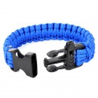 Outdoor Emergency Surviving Quick-Release Parachute Hand Rope / Cord Bracelet w/ Whistle - Blue