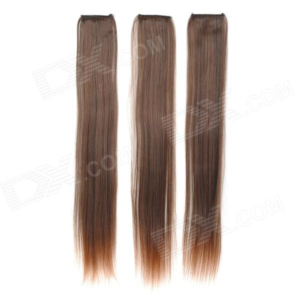Decorative Long Straight Hair Slice Extension Wigs - Light Brown (3 PCS) decorative led green light straight hair wig hairpin for party white 2 x cr1220