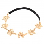 GLYFZ-1 Big Olive Branch Leaves Style Hair Band - Black + Golden