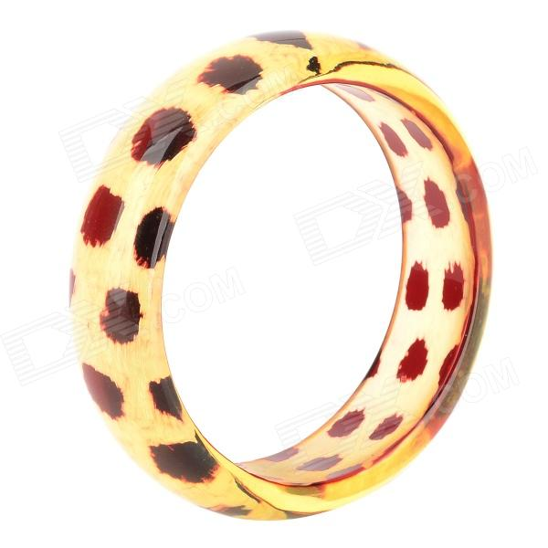 Leopard Pattern Resin Bracelet - Light Yellow + Red цена