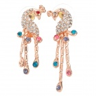 Fashionable Peacock Style Shiny Crystal Inlaid Earrings - Multicolored (2 PCS)