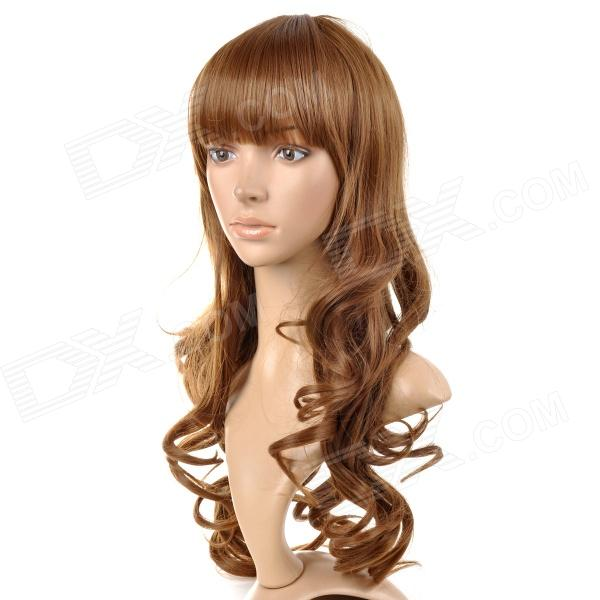 lc073/6p/12 Sweat Full-length Bangs Long Curly Wig - Sandy cute sexy cosplay wig full bangs curly