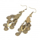 Graceful Peacock Style Crystal Earring for Women - Bronze + Blue