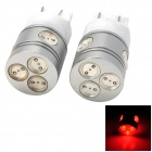 HDS090009 T20 9W 800lm 6 LED Red Light Car Brake Lamp - Silver + White (2 PCS)