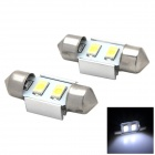 Festoon 31mm 1W 60lm 2-SMD 5730 LED White Light Car Reading Lamp - Silver + Yellow (2 PCS / 12V)