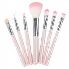 7-in-1 Poratble Make Up Brushes w/ Carrying Bag - Pink + Silver + White