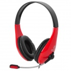Chenyun CY-726 USB Headband Headphone w/ Microphone + Control - Red + Black