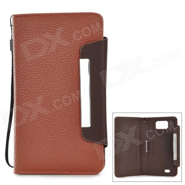 i-6.0-BR Protective PU Case w/ Strap for 5.8~6.0 Samsung i9152 / i9200 / Galaxy Mega - Brown i 6 0 br protective pu case w strap for 5 8 6 0 samsung i9152 i9200 galaxy mega brown