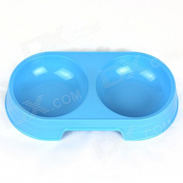 Plastic Dual Cup Pet Dog Bowl - Blue (Size L)
