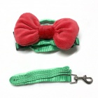 Adjustable Pet Dog Cat Nylon Bowknot Leash - Green + Red